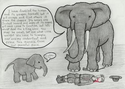 Mama elephant teaching baby elephant to kill